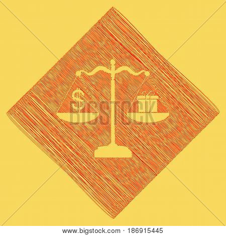 Gift and dollar symbol on scales. Vector. Red scribble icon obtained as a result of subtraction rhomb and path. Royal yellow background.