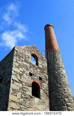 Derelict Engine House With Chimney Stack, Formerly Part Of A Cornish Tin Mine In England
