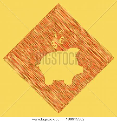 Piggy bank sign with the currencies. Vector. Red scribble icon obtained as a result of subtraction rhomb and path. Royal yellow background.