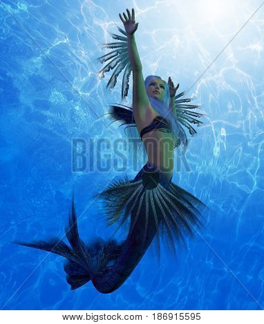 Mermaid Lorelei 3d illustration - A mermaid is a fantasy creature from folklore and myth that has a fish tail and a woman's upper body.