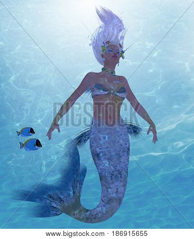 Mermaid Nadja 3d illustration - A mermaid is a fantasy creature from folklore and myth that has a fish tail and a woman's upper body.