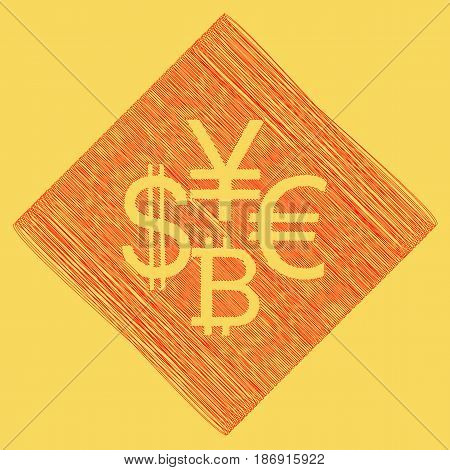 Currency sign collection dollar, euro, bitcoin, yen. Vector. Red scribble icon obtained as a result of subtraction rhomb and path. Royal yellow background.