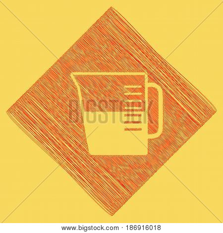 Beaker sign. Vector. Red scribble icon obtained as a result of subtraction rhomb and path. Royal yellow background.