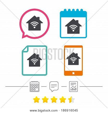 Home Wifi sign. Wi-fi symbol. Wireless Network icon. Wifi zone. Calendar, chat speech bubble and report linear icons. Star vote ranking. Vector