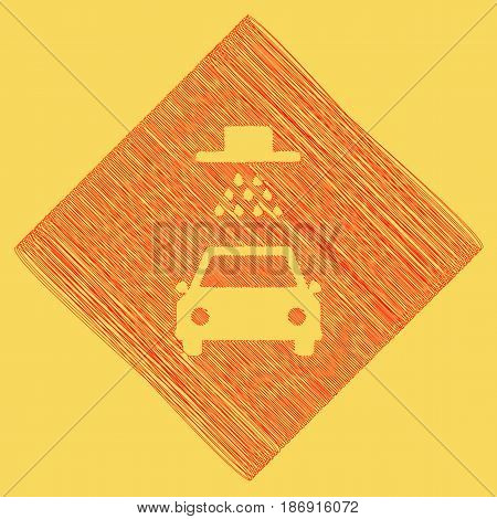 Car wash sign. Vector. Red scribble icon obtained as a result of subtraction rhomb and path. Royal yellow background.