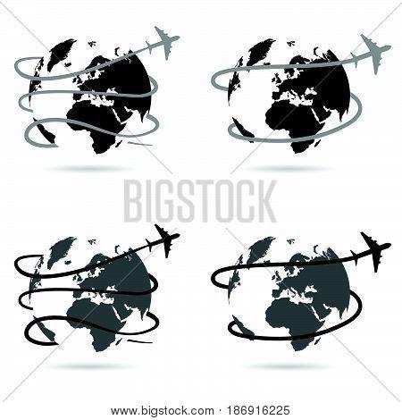 Travel With Airplane Around The World Illustration