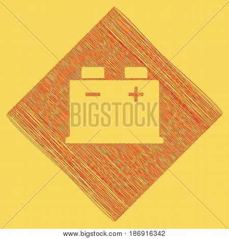 Car battery sign. Vector. Red scribble icon obtained as a result of subtraction rhomb and path. Royal yellow background.