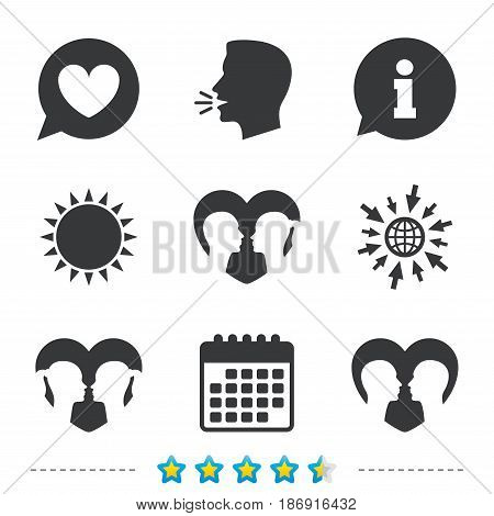 Couple love icon. Lesbian and Gay lovers signs. Romantic homosexual relationships. Speech bubble with heart symbol. Information, go to web and calendar icons. Sun and loud speak symbol. Vector