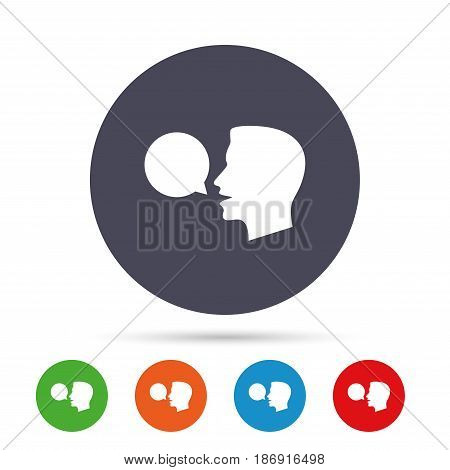 Talk or speak icon. Speech bubble symbol. Human talking sign. Round colourful buttons with flat icons. Vector