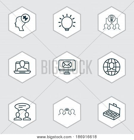Set Of 9 Business Management Icons. Includes Dialogue, Human Mind, Collaborative Solution And Other Symbols. Beautiful Design Elements.