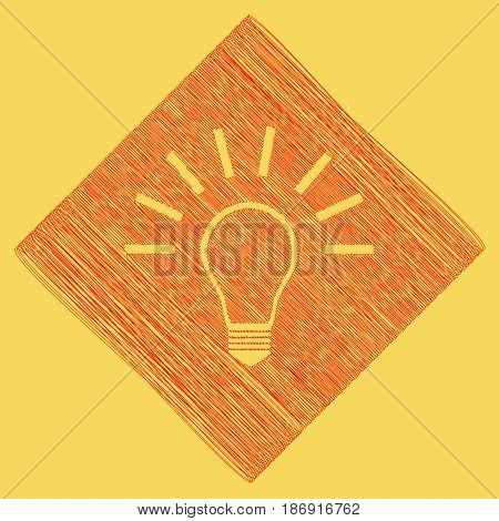 Light lamp sign. Vector. Red scribble icon obtained as a result of subtraction rhomb and path. Royal yellow background.
