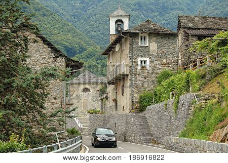 Ticino-style stone houses of the rural village San Bartolomeo in the Verzasca Valley Switzerland