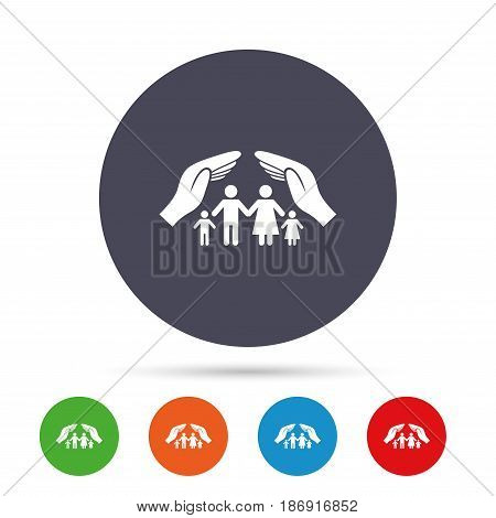Family life insurance sign icon. Hands protect human group symbol. Health insurance. Round colourful buttons with flat icons. Vector