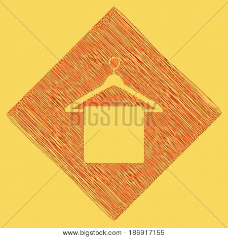 Towel On Hanger sign. Vector. Red scribble icon obtained as a result of subtraction rhomb and path. Royal yellow background.