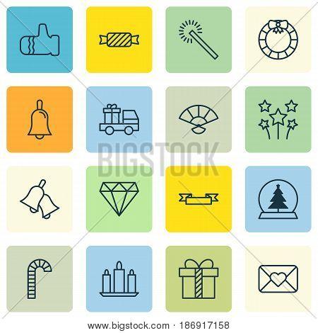 Set Of 16 Celebration Icons. Includes Ringer, Handbell, Mitten Symbols. Beautiful Design Elements.