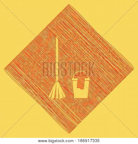 Broom and bucket sign. Vector. Red scribble icon obtained as a result of subtraction rhomb and path. Royal yellow background.