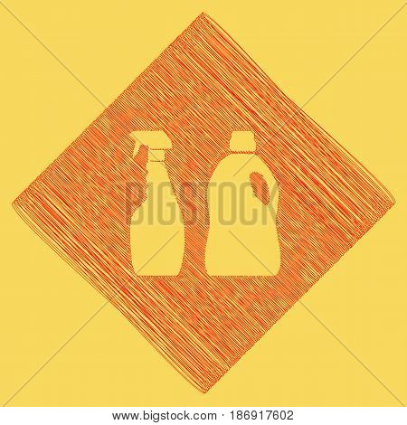 Household chemical bottles sign. Vector. Red scribble icon obtained as a result of subtraction rhomb and path. Royal yellow background.