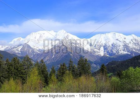 French Alps panorama in spring