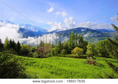 French Alps mountains in spring