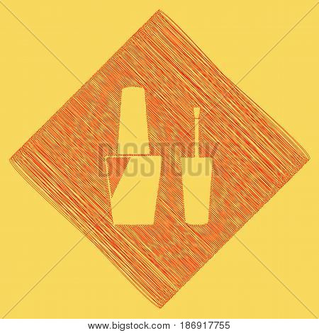 Nail polish sign. Vector. Red scribble icon obtained as a result of subtraction rhomb and path. Royal yellow background.