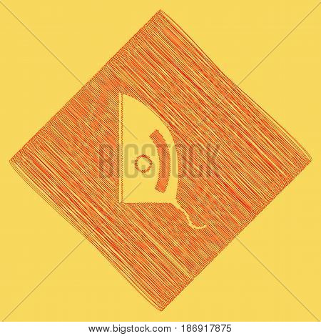Iron sign. Vector. Red scribble icon obtained as a result of subtraction rhomb and path. Royal yellow background.