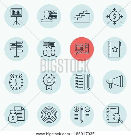 Set Of 16 Project Management Icons. Includes Announcement, Decision Making, Money And Other Symbols. Beautiful Design Elements.