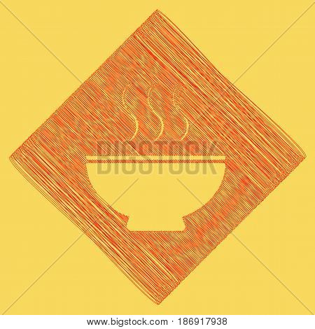 Soup sign. Vector. Red scribble icon obtained as a result of subtraction rhomb and path. Royal yellow background.