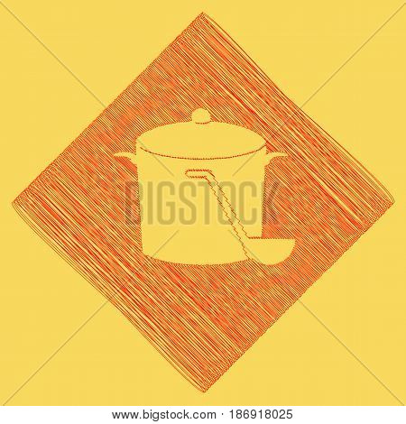 Pan with steam sign. Vector. Red scribble icon obtained as a result of subtraction rhomb and path. Royal yellow background.