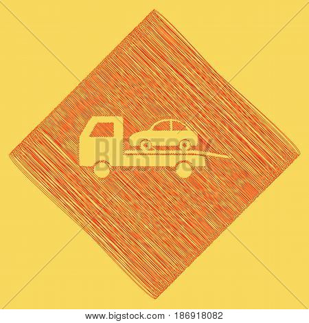 Tow car evacuation sign. Vector. Red scribble icon obtained as a result of subtraction rhomb and path. Royal yellow background.