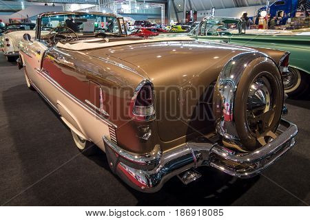 STUTTGART GERMANY - MARCH 03 2017: Full-size car Chevrolet Bel Air Convertible 1955. Rear view. Europe's greatest classic car exhibition