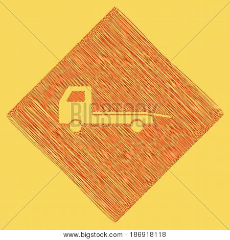 Service of evacuation sign. Wrecking car side. Car evacuator. Vehicle towing. Vector. Red scribble icon obtained as a result of subtraction rhomb and path. Royal yellow background.