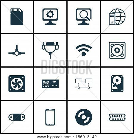 Set Of 16 Computer Hardware Icons. Includes Network Structure, Music, Connected Devices And Other Symbols. Beautiful Design Elements.
