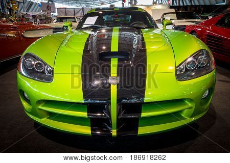 STUTTGART GERMANY - MARCH 03 2017: Sports car Dodge Viper SRT-10 Coupe 2010. Europe's greatest classic car exhibition