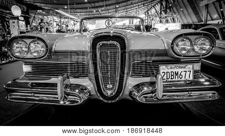 STUTTGART GERMANY - MARCH 03 2017: Full-size car Edsel Pacer Convertible 1958. Black and white. Europe's greatest classic car exhibition