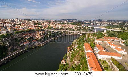Aerial view of bridges over the Douro River in Porto, Portugal