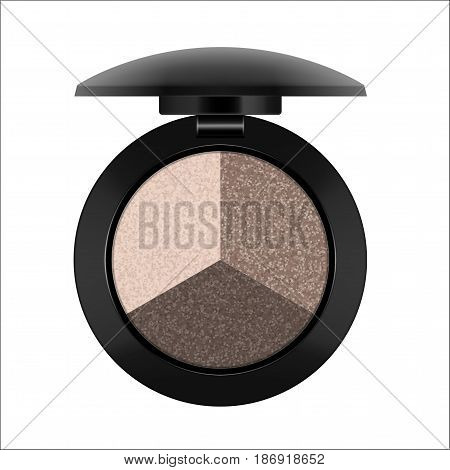 Eye shadow three natural colors in single case, open, palette to create professional and personal makeup harmony. Beauty and care concept, isolated on white background, Vector illustration, realistic.