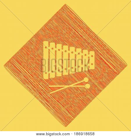 Xylophone sign. Vector. Red scribble icon obtained as a result of subtraction rhomb and path. Royal yellow background.
