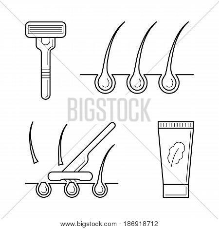 Vector icons set of tools for shaving procedure. Cosmetic depilation equipment: shaver, razor with blade and cream. Hair removing symbols in thin line style. Outline simple illustrations isolated on white