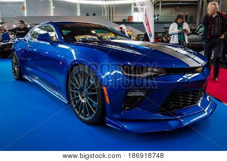 STUTTGART GERMANY - MARCH 03 2017: Muscle car The Chevrolet Camaro SS (sixth generation) 2016. Europe's greatest classic car exhibition