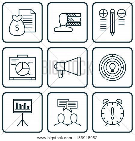 Set Of 9 Project Management Icons. Includes Report, Innovation, Announcement And Other Symbols. Beautiful Design Elements.