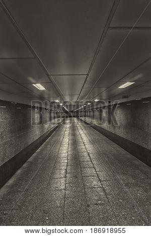 cold Empty crosswalk underground monochrome in day