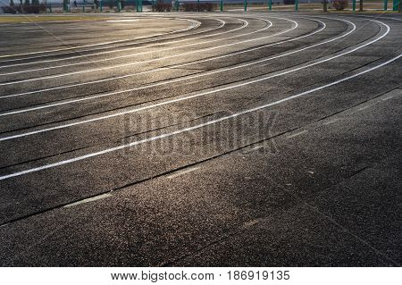 All-weather stadium running track.