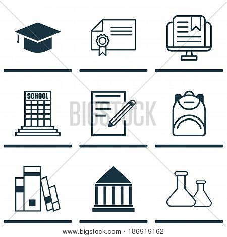 Set Of 9 Education Icons. Includes Graduation, Diploma, Education Center And Other Symbols. Beautiful Design Elements.