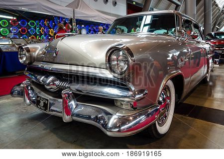 STUTTGART GERMANY - MARCH 03 2017: Mid-size luxury car Ford Mainline 1953. Europe's greatest classic car exhibition