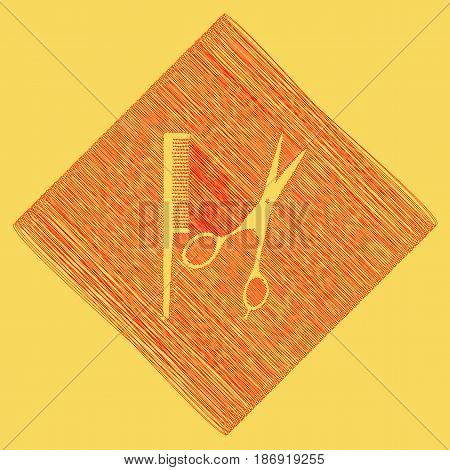 Barber shop sign. Vector. Red scribble icon obtained as a result of subtraction rhomb and path. Royal yellow background.