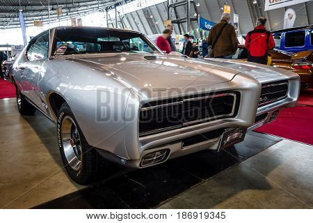 STUTTGART GERMANY - MARCH 03 2017: Muscle car Pontiac GTO 1969. Europe's greatest classic car exhibition