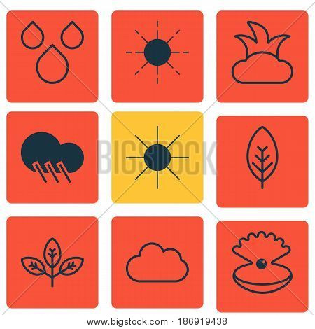 Set Of 9 Harmony Icons. Includes Raindrop, Sprout, Sun And Other Symbols. Beautiful Design Elements.