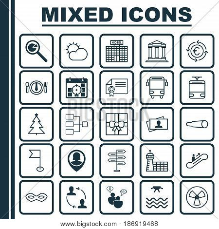 Set Of 25 Universal Editable Icons. Can Be Used For Web, Mobile And App Design. Includes Elements Such As Streetcar, System Structure, Airport Building And More.