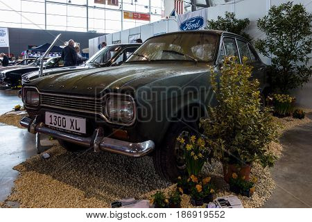 STUTTGART GERMANY - MARCH 03 2017: Small family car Ford Escort MK1 1300 XL 1970. Europe's greatest classic car exhibition