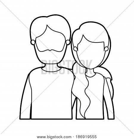 black thick contour caricature faceless half body couple woman with ponytail side hair and bearded man vector illustration